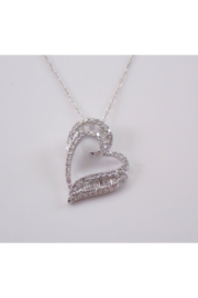 Margolin & Co Baguette and Round Diamond Heart Pendant Necklace 14K White Gold Chain 18