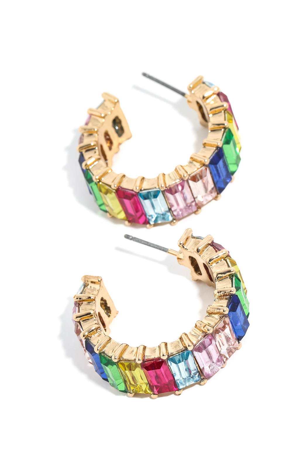 Anarchy Street Baguette Bar Studded Hoop Earrings - Main Image