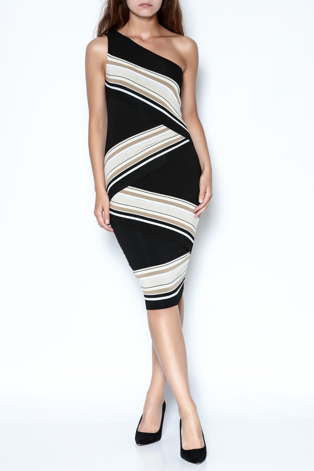 Bailey 44 One-Shoulder Striped Dress - Front Full Image