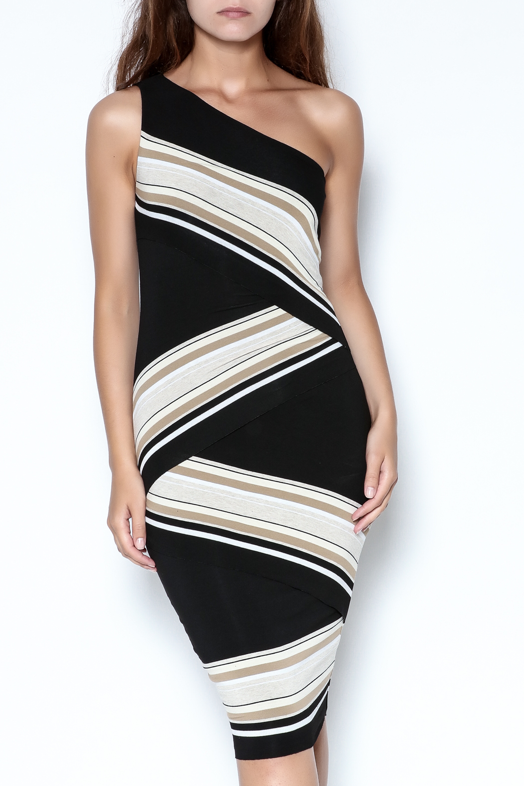 Bailey 44 One-Shoulder Striped Dress - Main Image