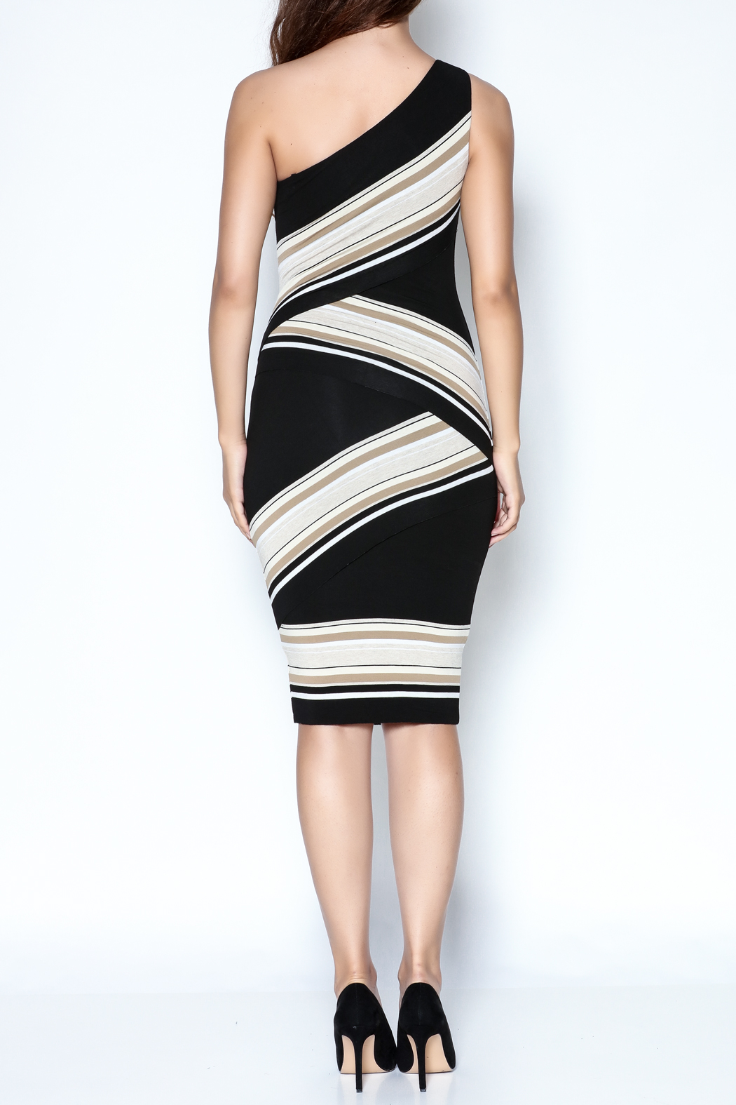 Bailey 44 One-Shoulder Striped Dress - Back Cropped Image
