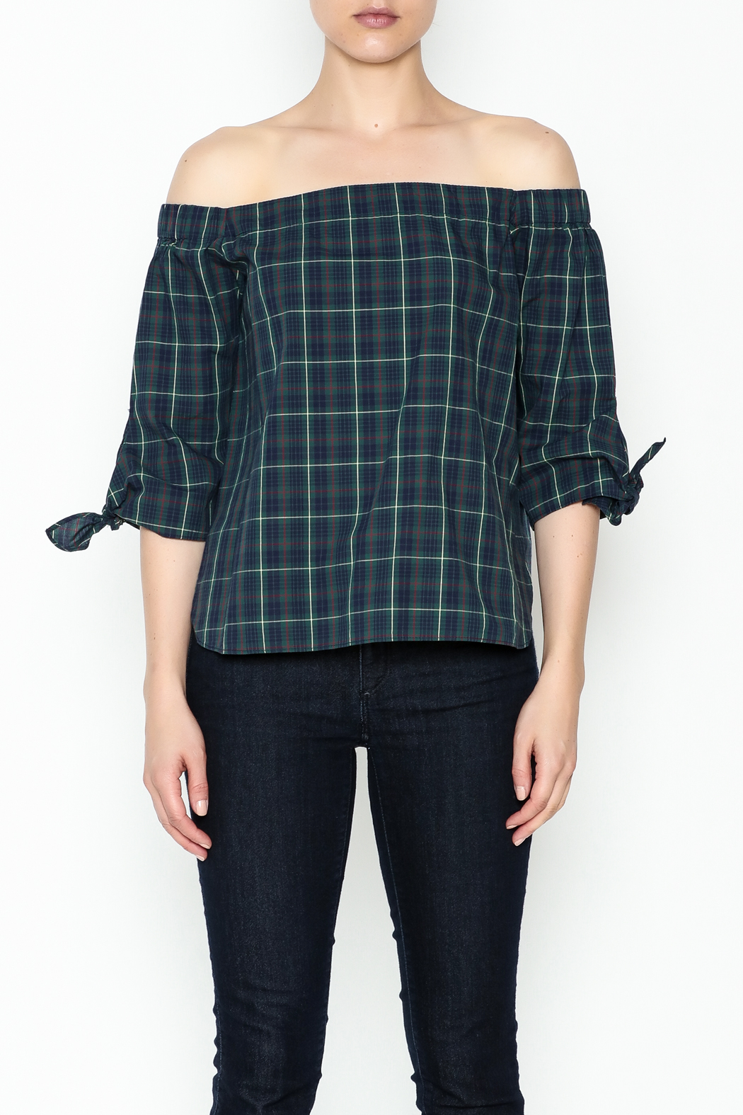 Bailey 44 Plaid Cold Shoulder Top - Front Full Image