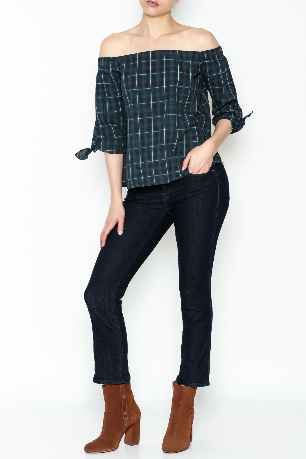 Bailey 44 Plaid Cold Shoulder Top - Side Cropped Image