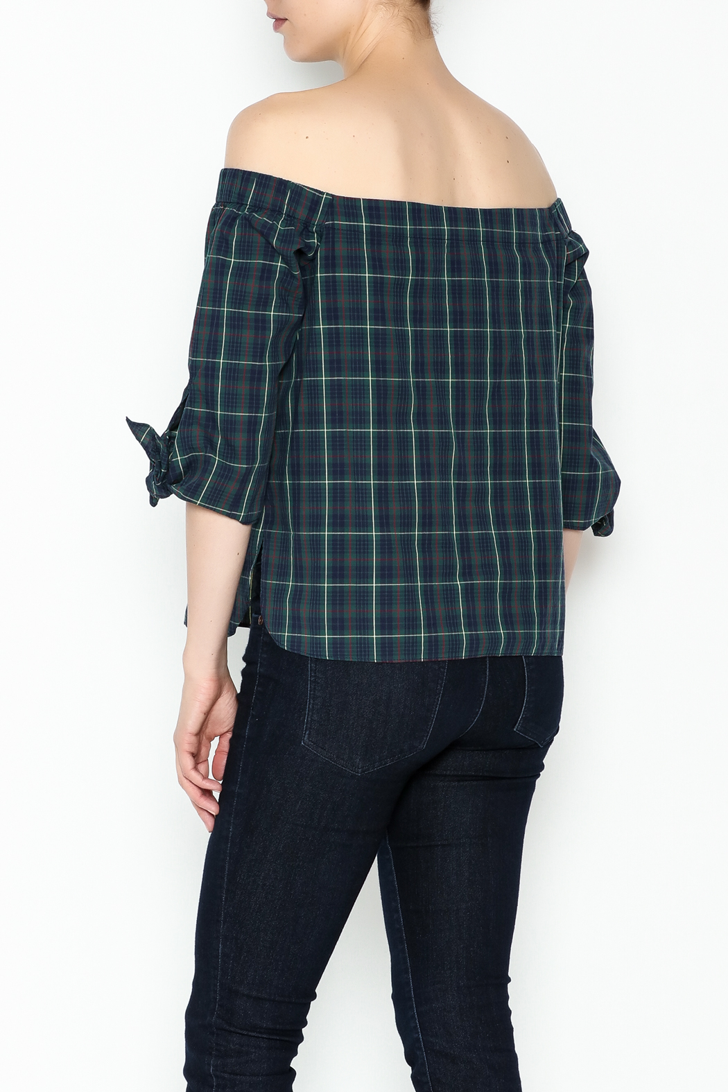 Bailey 44 Plaid Cold Shoulder Top - Back Cropped Image