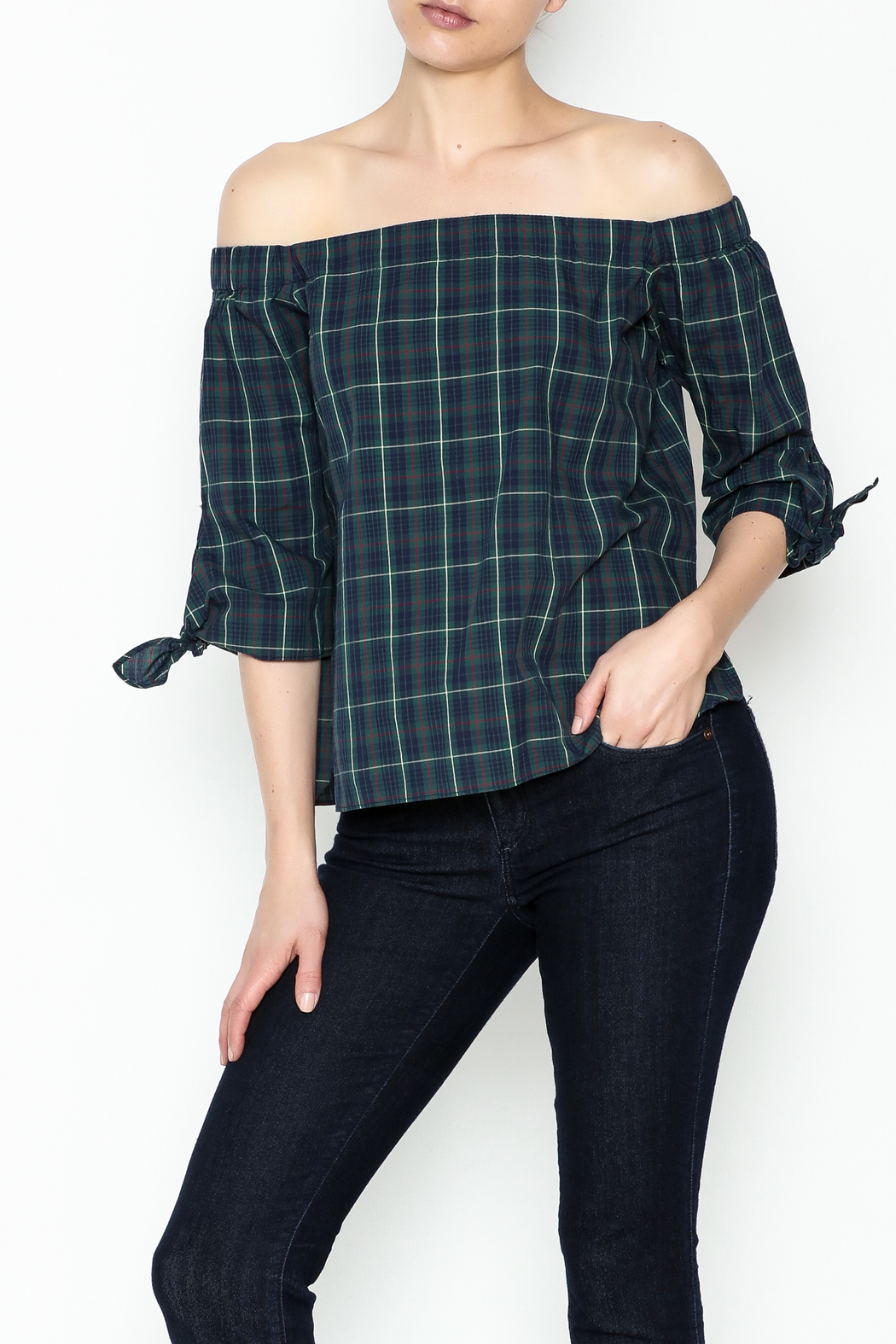 Bailey 44 Plaid Cold Shoulder Top - Main Image