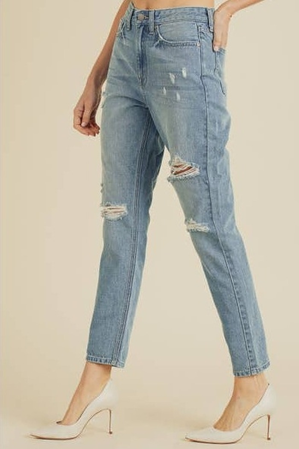 JBD Bailey Distressed Mom Jeans - Side Cropped Image