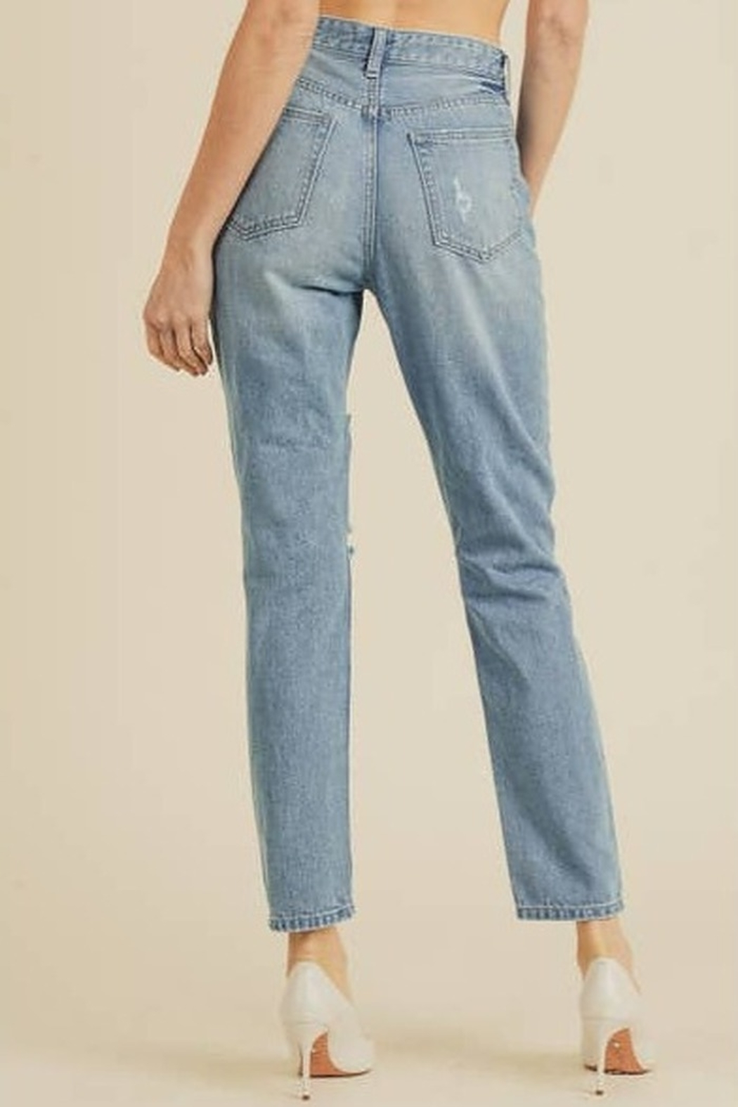 JBD Bailey Distressed Mom Jeans - Front Full Image