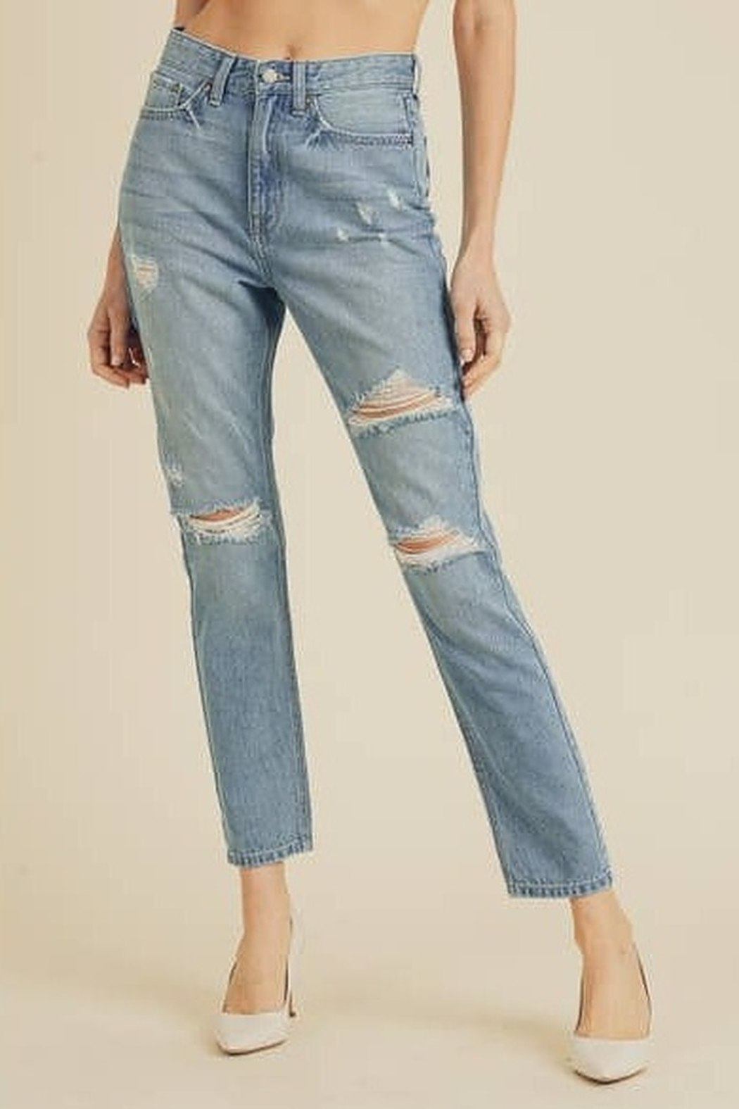 JBD Bailey Distressed Mom Jeans - Main Image