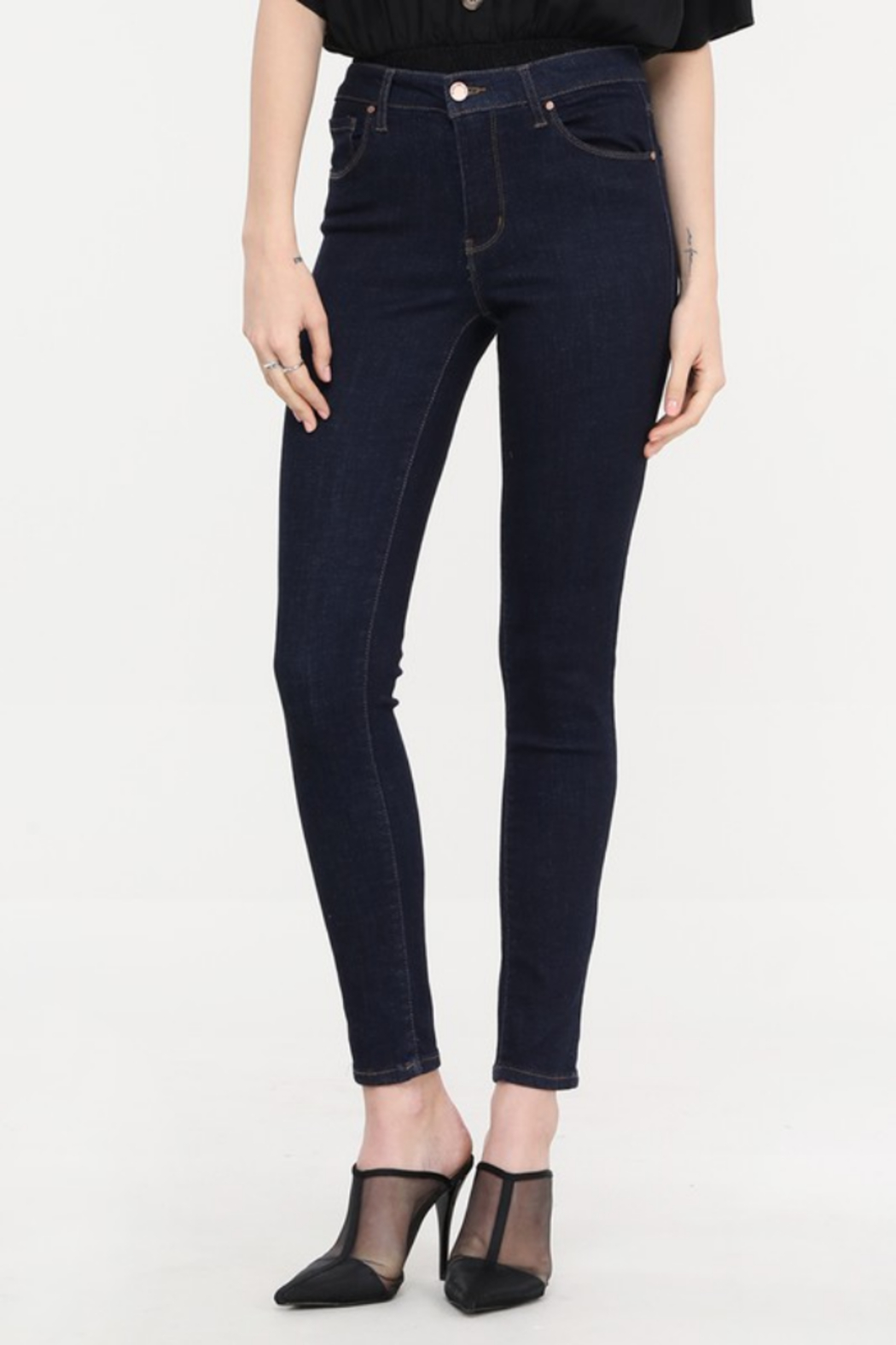 Cest Toi Bailey Mid Rise Skinny Jean - Front Cropped Image