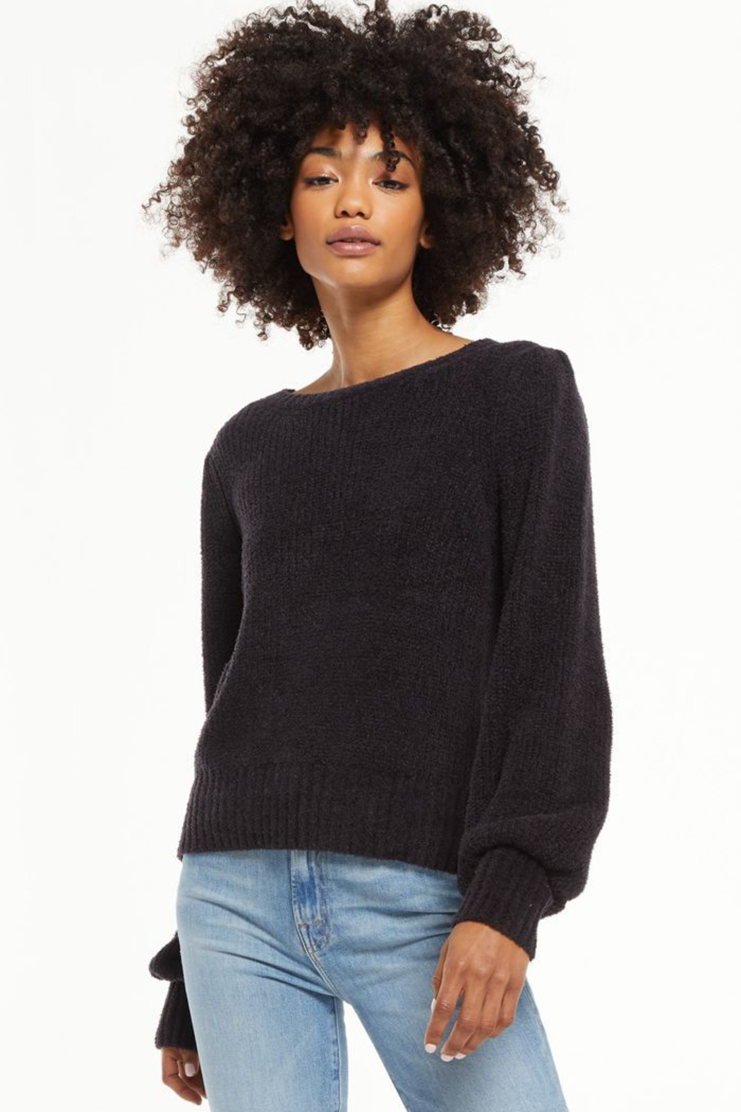 z supply  Bailey Puff Sleeve Sweater - Back Cropped Image