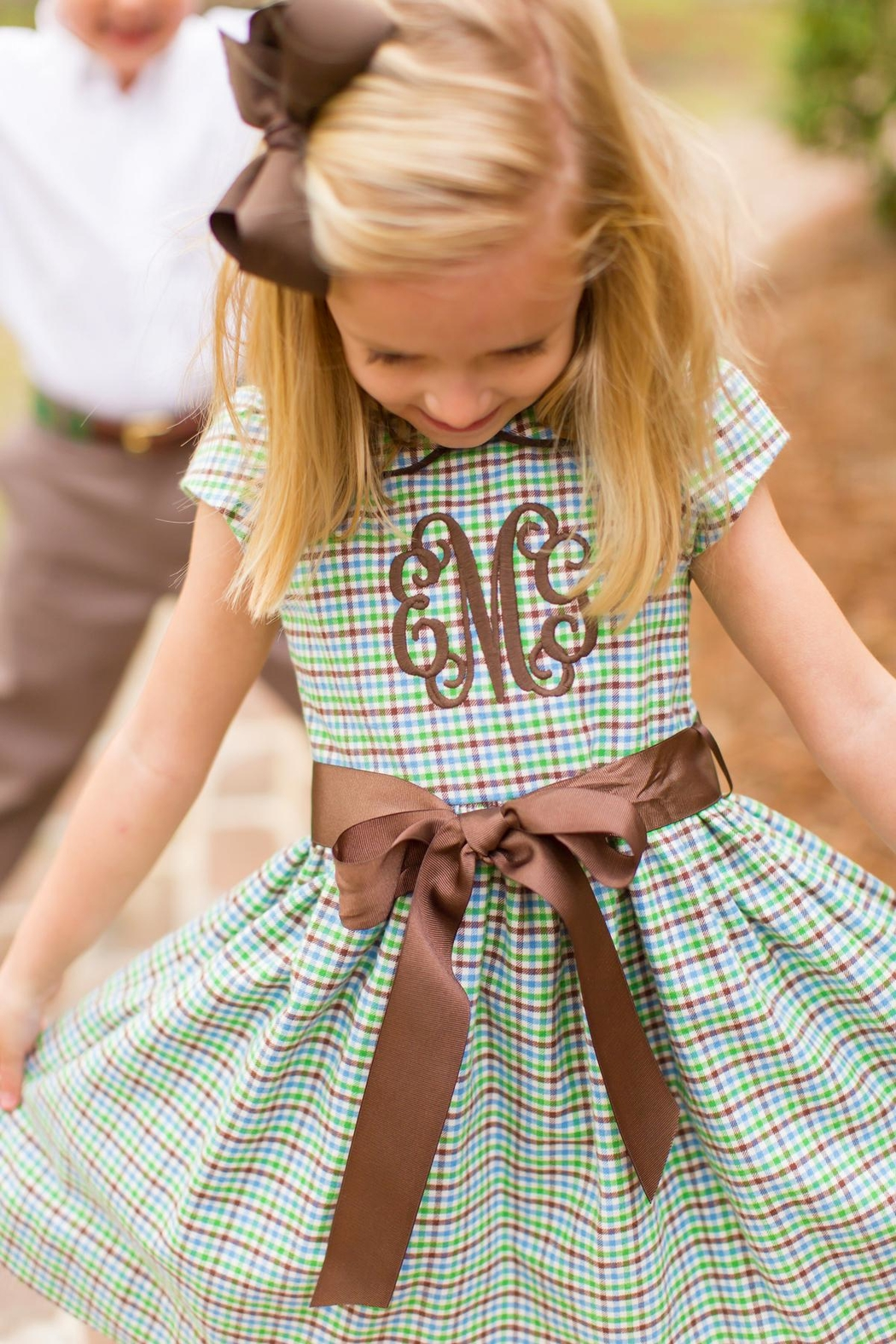 Bailey Boys Acorn Plaid Empire-Dress - Main Image