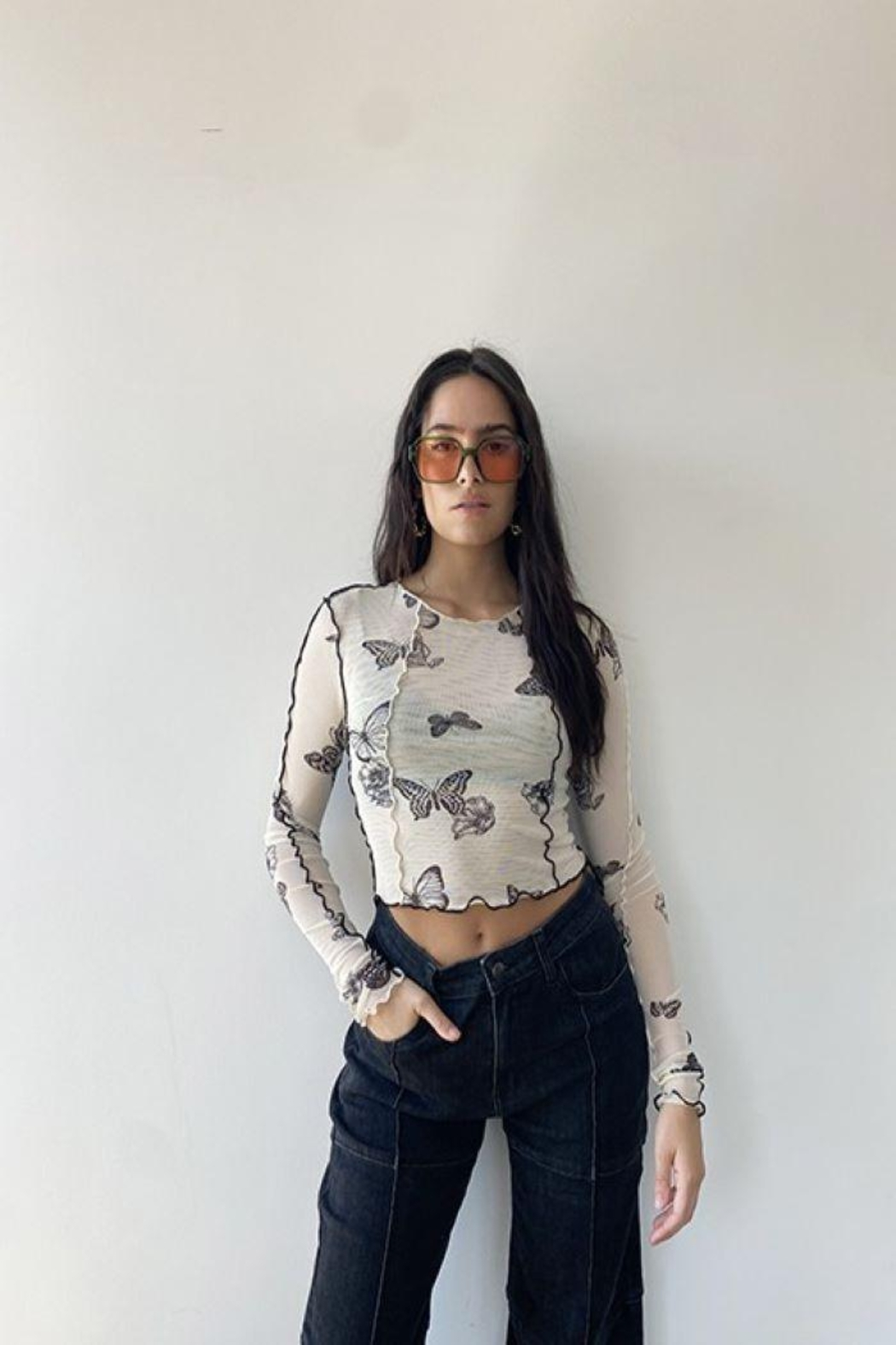 Bailey Rose Mesh Butterfly Top - Main Image
