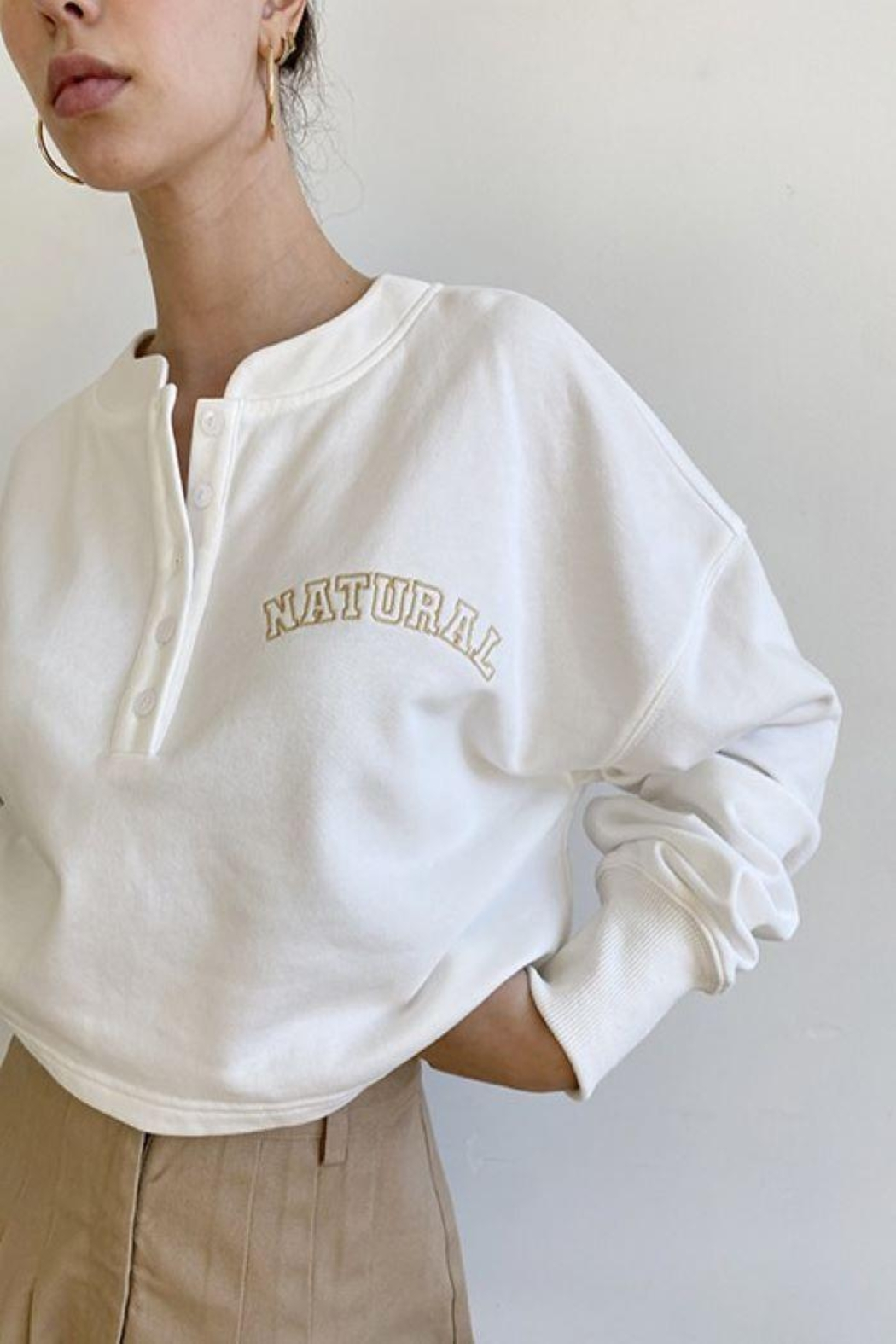 Bailey Rose 'Natural' Button Front Pullover - Main Image