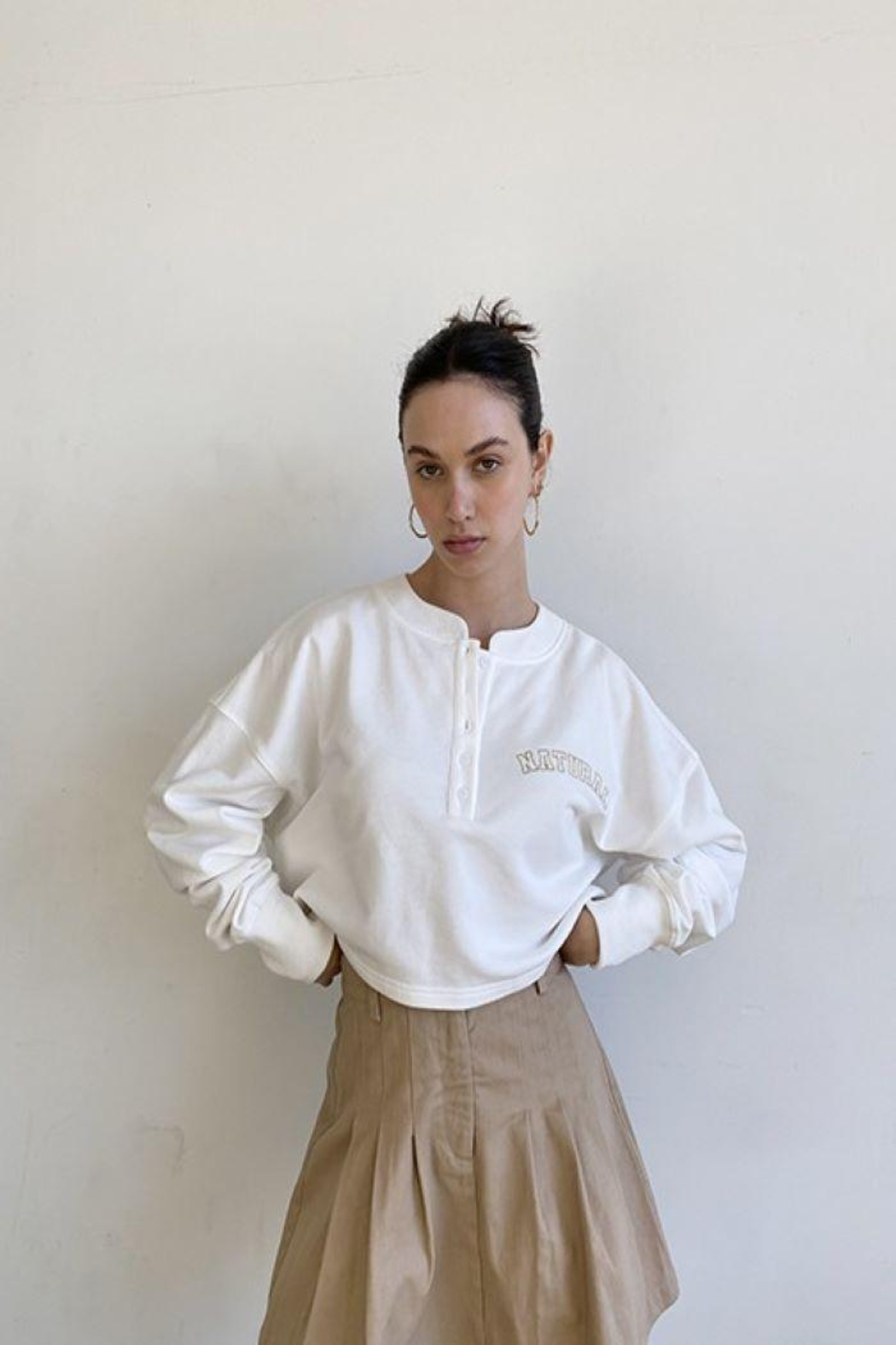 Bailey Rose 'Natural' Button Front Pullover - Back Cropped Image