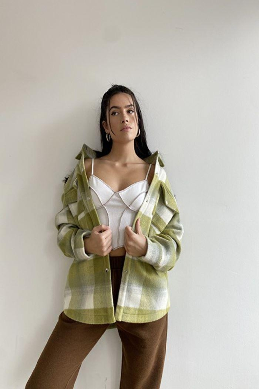 Bailey Rose Plaid Wool Button Down Jacket - Main Image