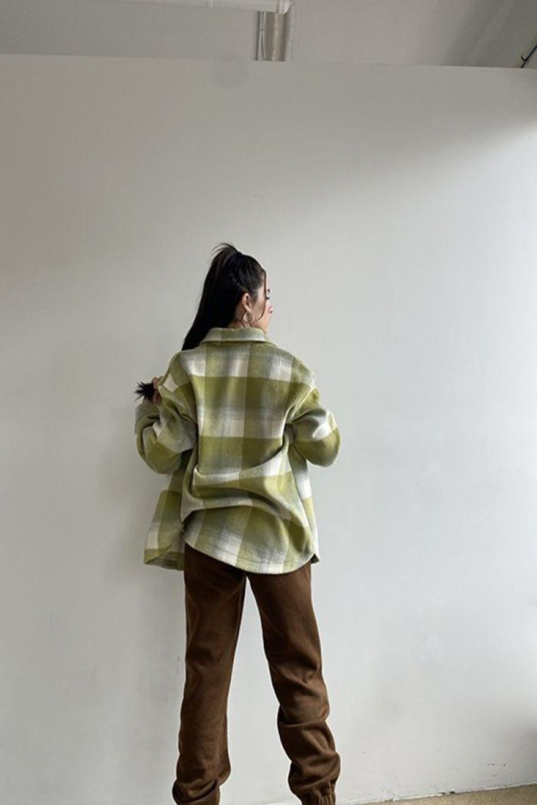 Bailey Rose Plaid Wool Button Down Jacket - Back Cropped Image