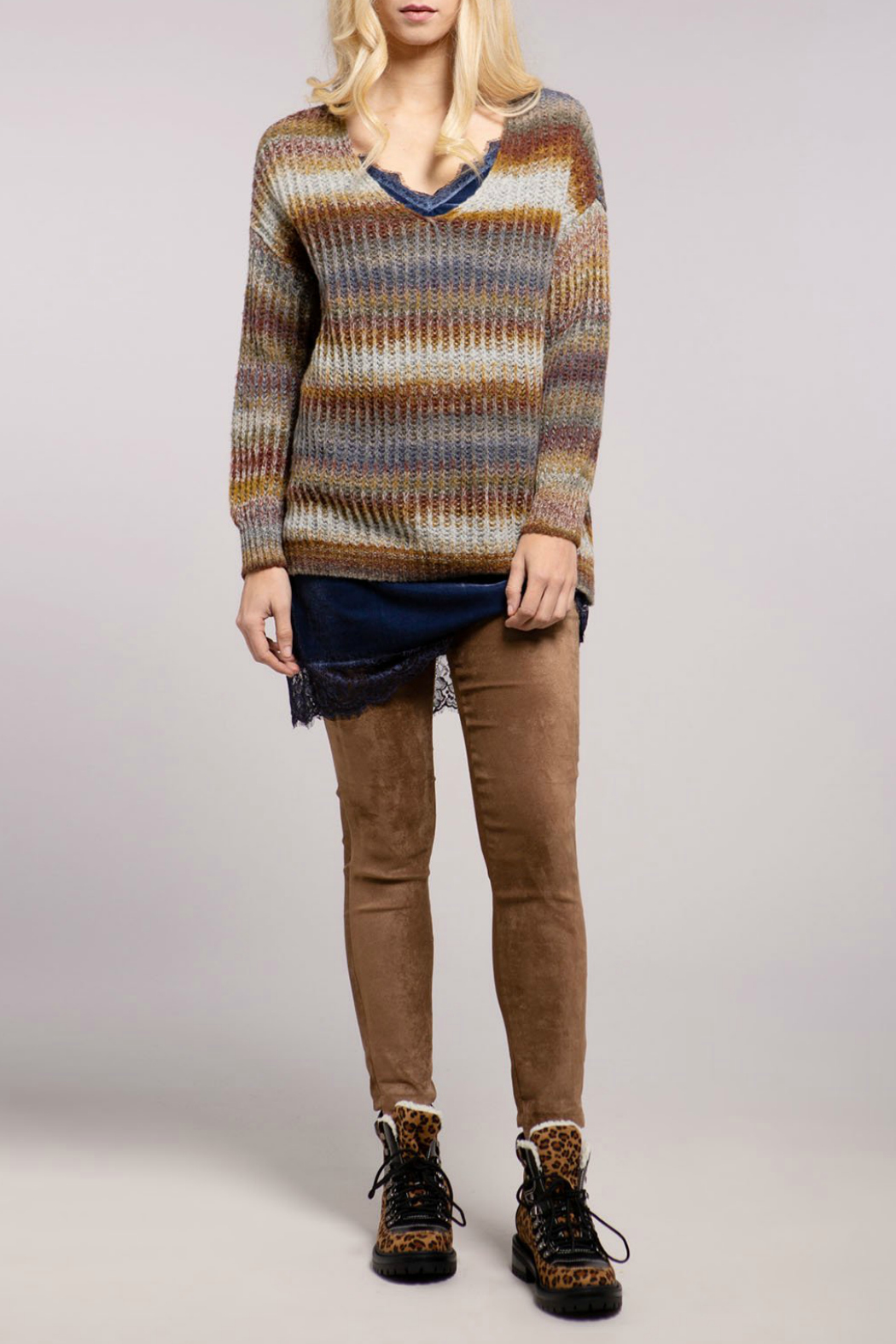 Baci Baja Ribbed V Neck Sweater - Main Image