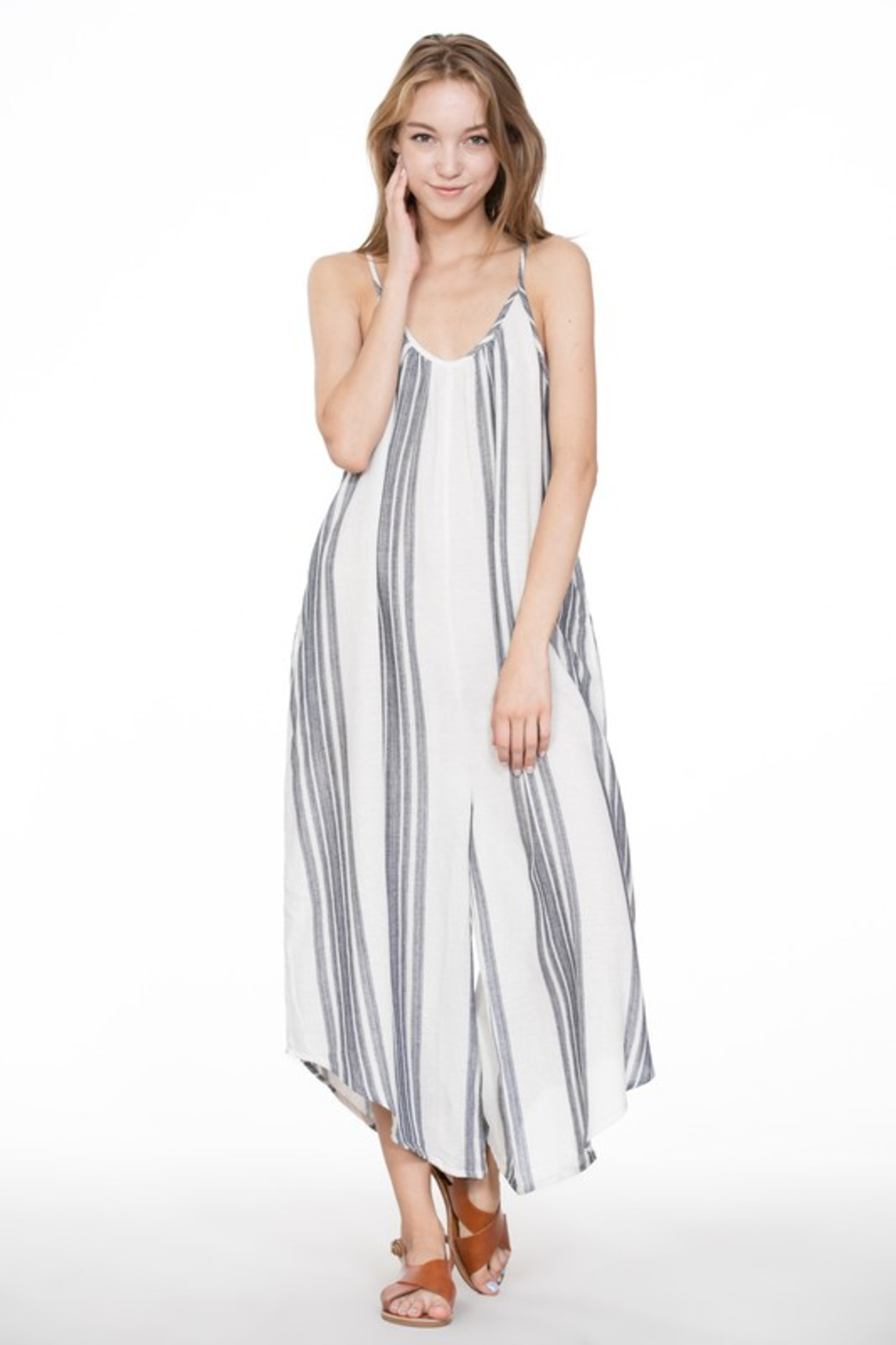 A Beauty by BNB  Baja Stripe Jumpsuit - Side Cropped Image
