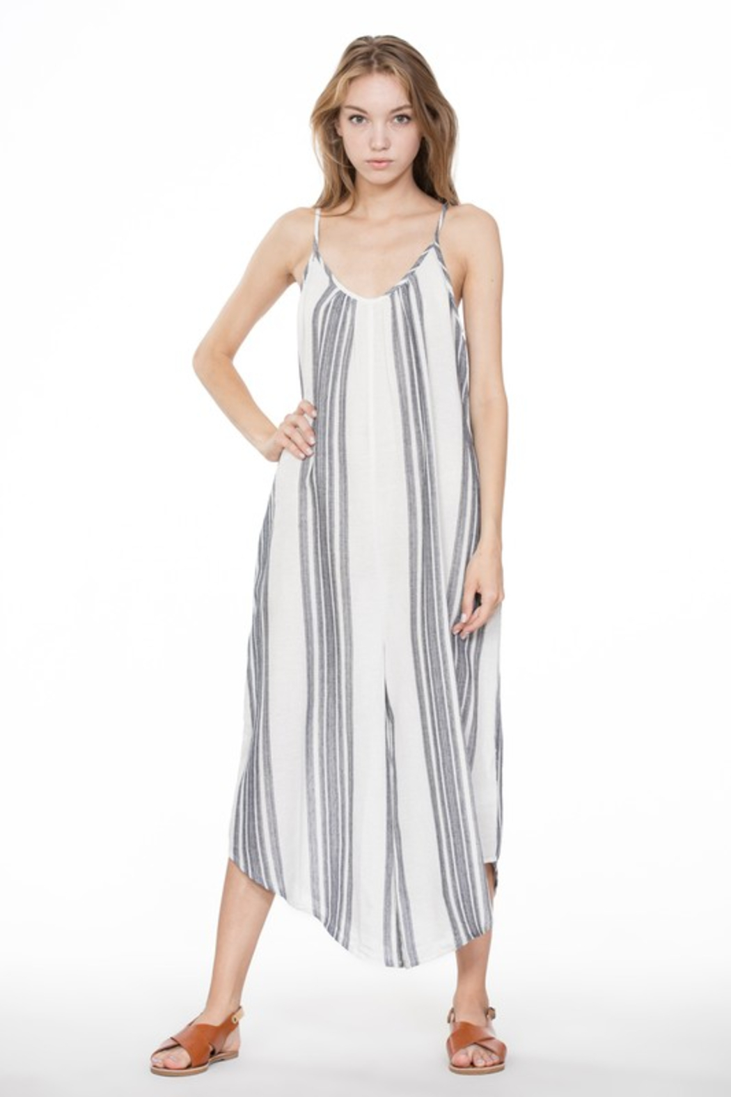 A Beauty by BNB  Baja Stripe Jumpsuit - Front Full Image