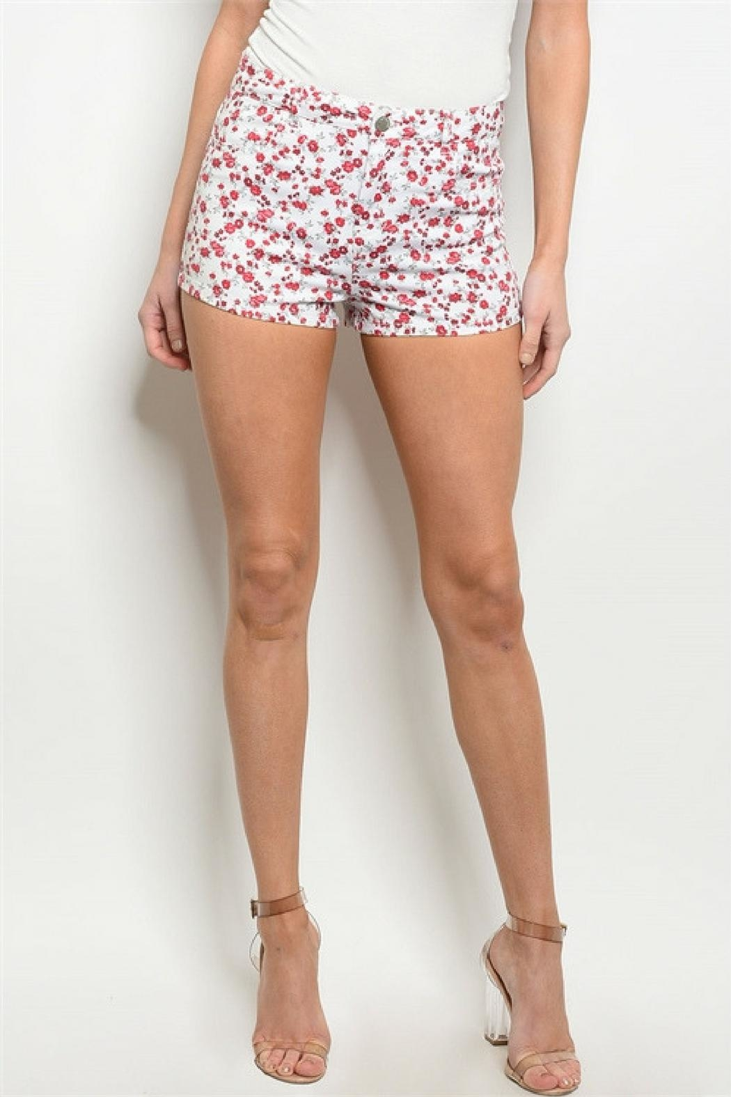 Bajee Collection Red Flower Shorts - Front Full Image