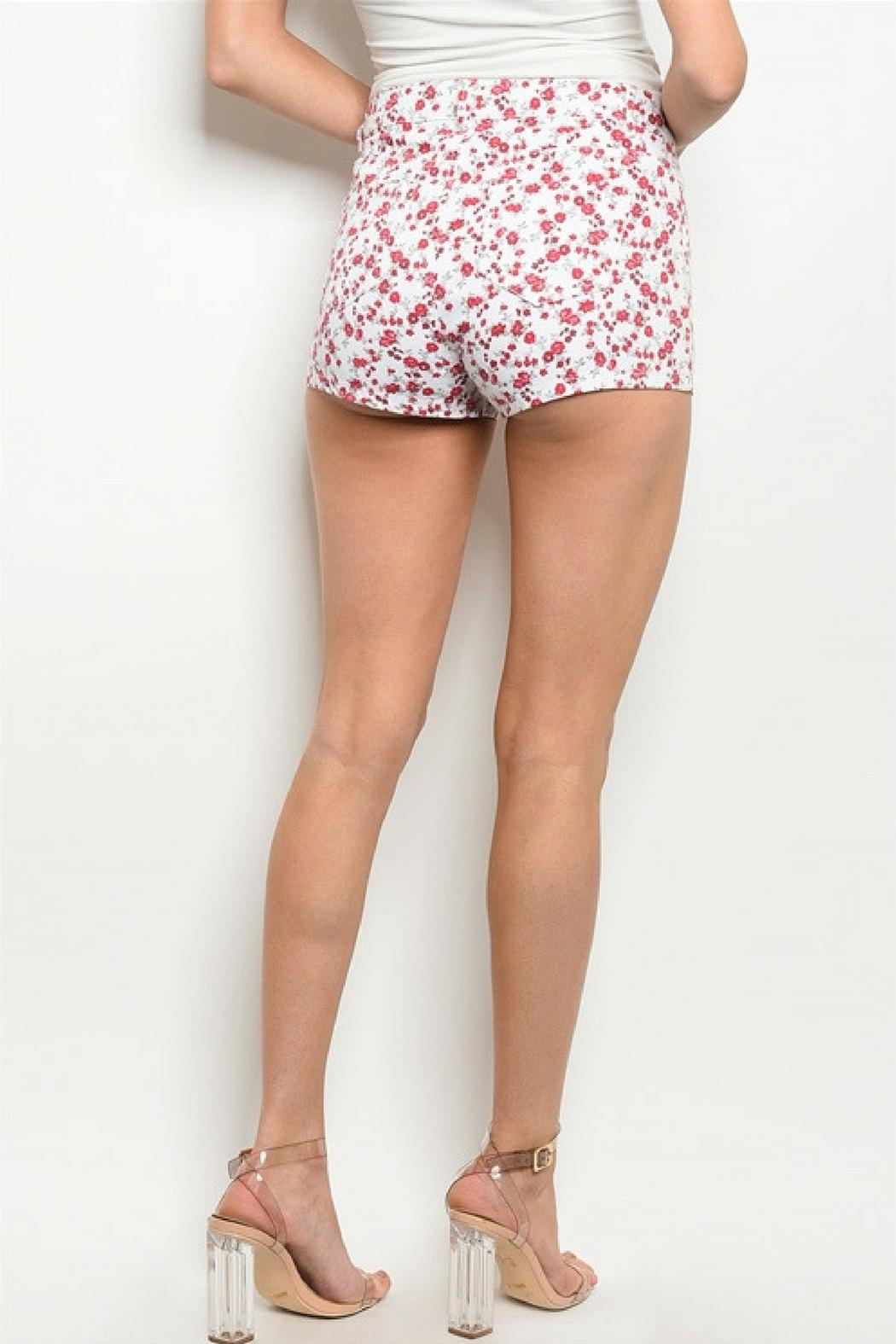 Bajee Collection Red Flower Shorts - Side Cropped Image