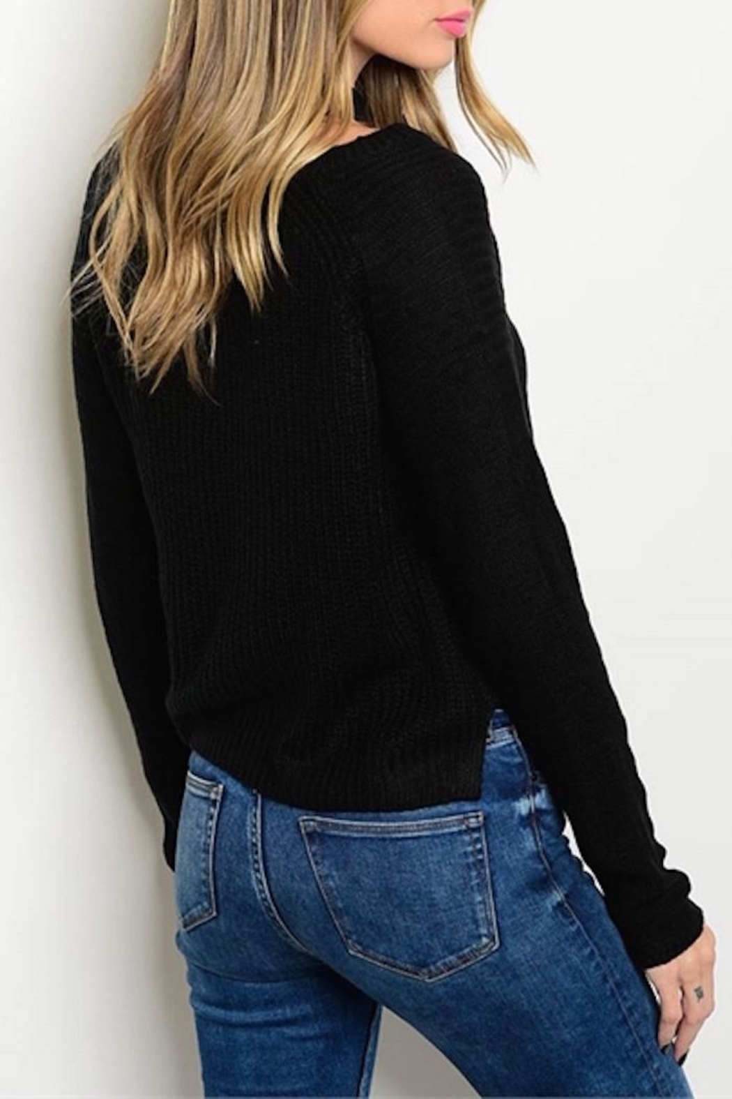 Bajee Collection Ribbed Crop Sweater - Front Full Image