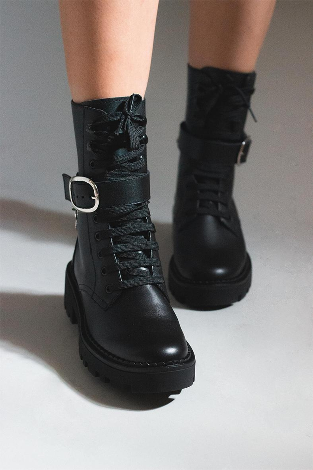 Bala Di Gala Combat Boot Black - Side Cropped Image