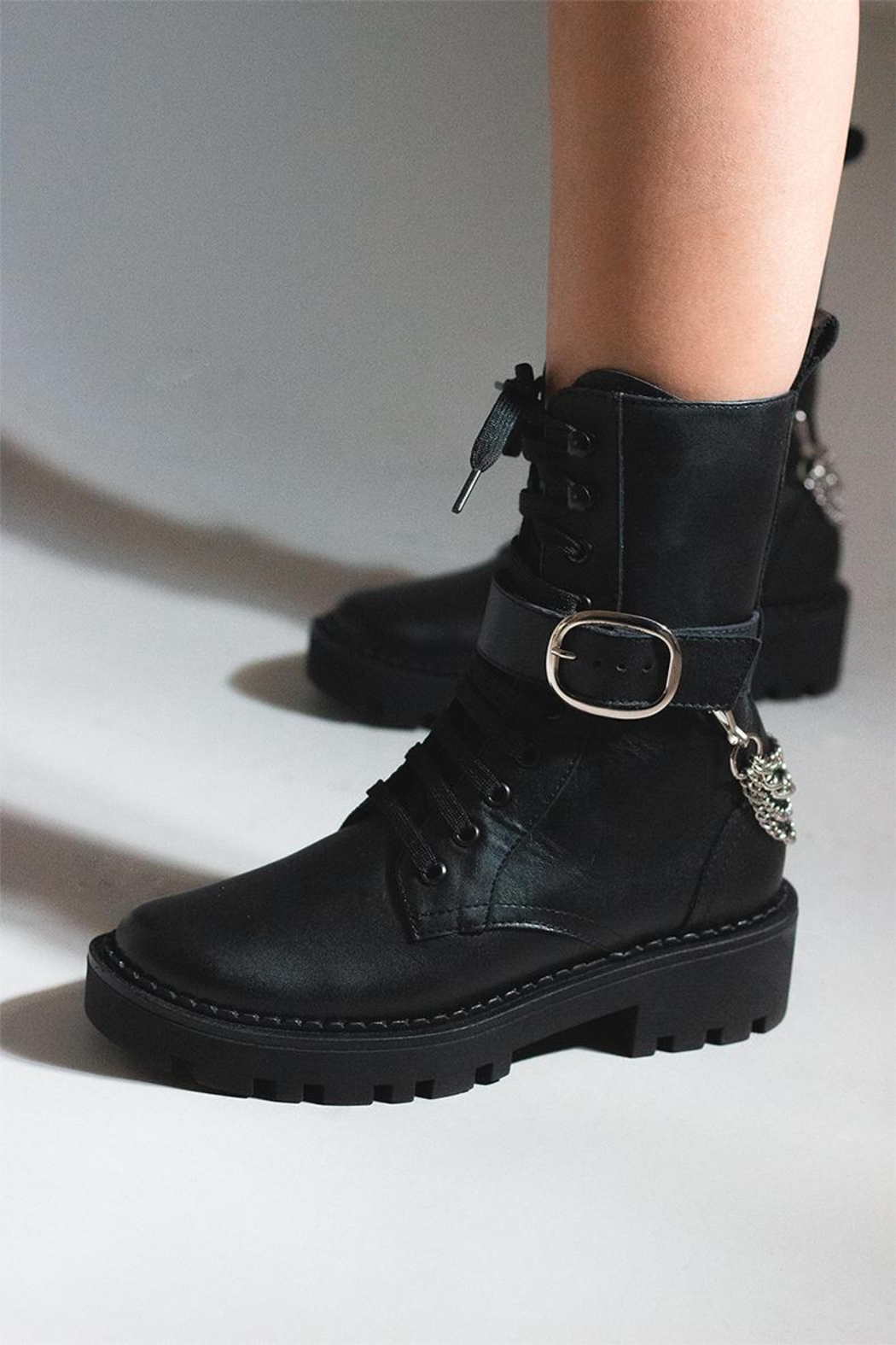 Bala Di Gala Combat Boot Black - Back Cropped Image