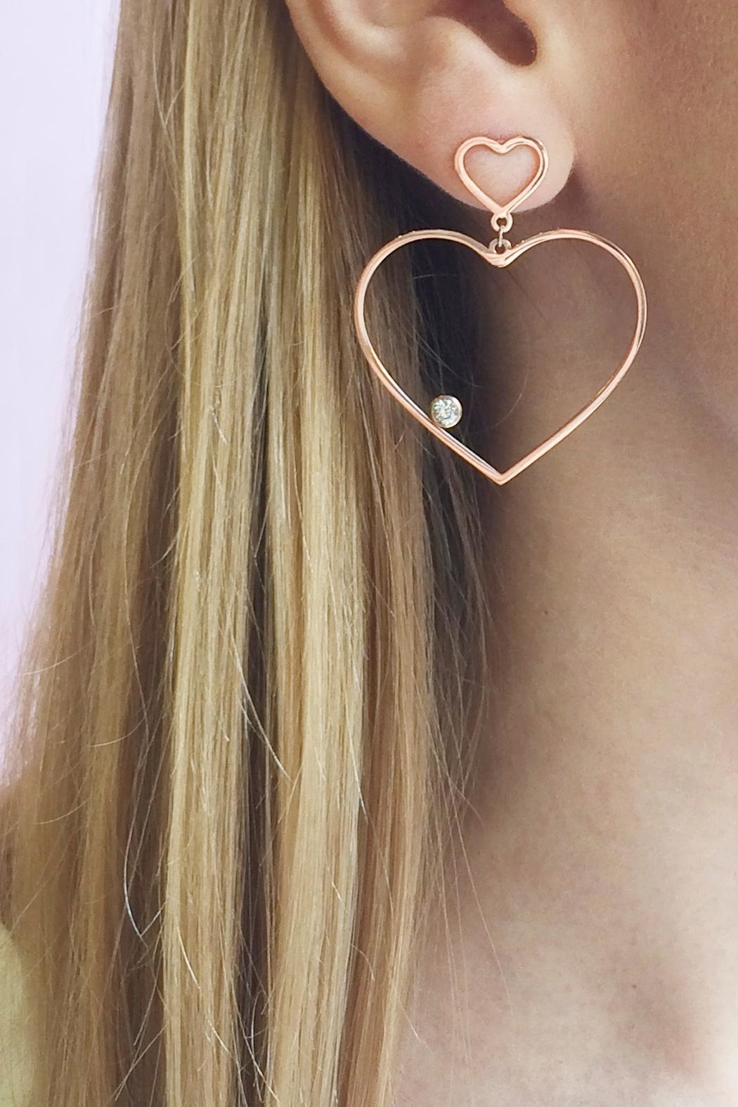 Balangandãs Dangle Heart Earrings - Back Cropped Image