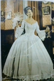 Mary's Bridal Ball Gown With Bell Sleeves In Ivory/Gold - Product Mini Image