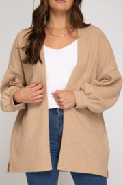 She and Sky Ballon Sleeve Knit Cardigan - Front cropped