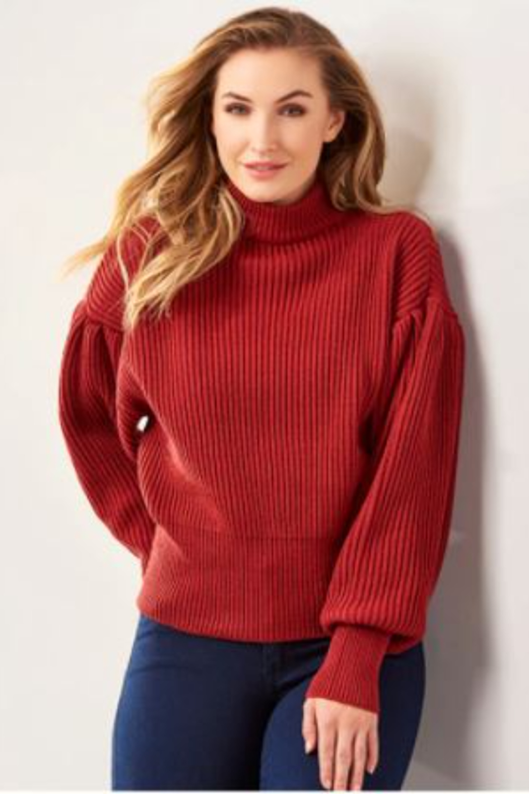 Charlie Paige  Balloon Sleeve Sweater - Front Cropped Image