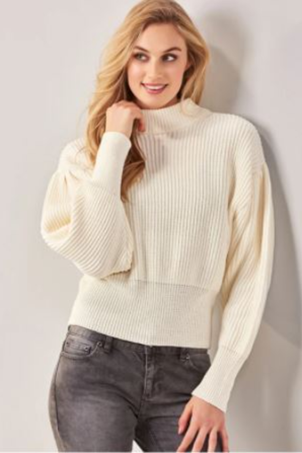 Charlie Paige  Balloon Sleeve Sweater - Front Full Image