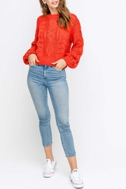 Lush Balloon-Sleeve Sweater, Red - Product Mini Image