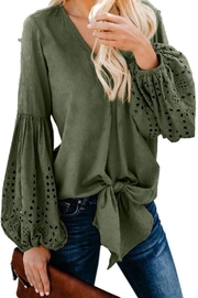 Tracie's Balloon Sleeve Tie Top - Front full body