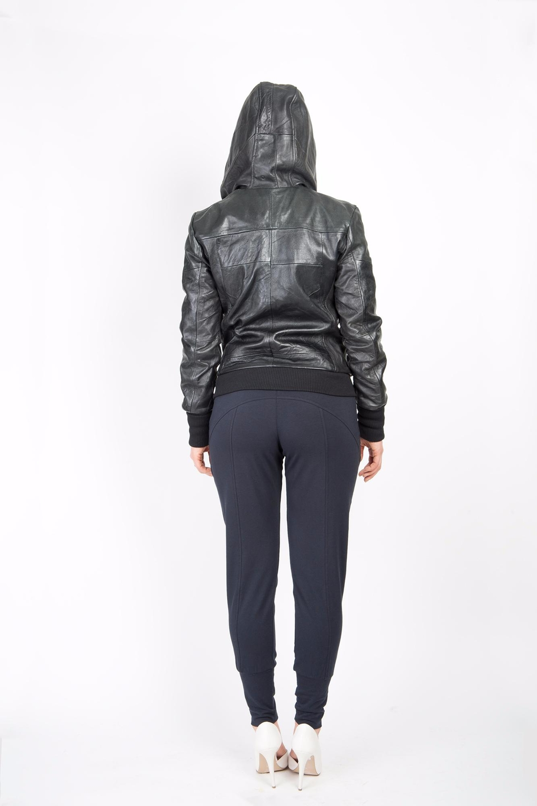 BAM Macy Leather Hoodie - Side Cropped Image