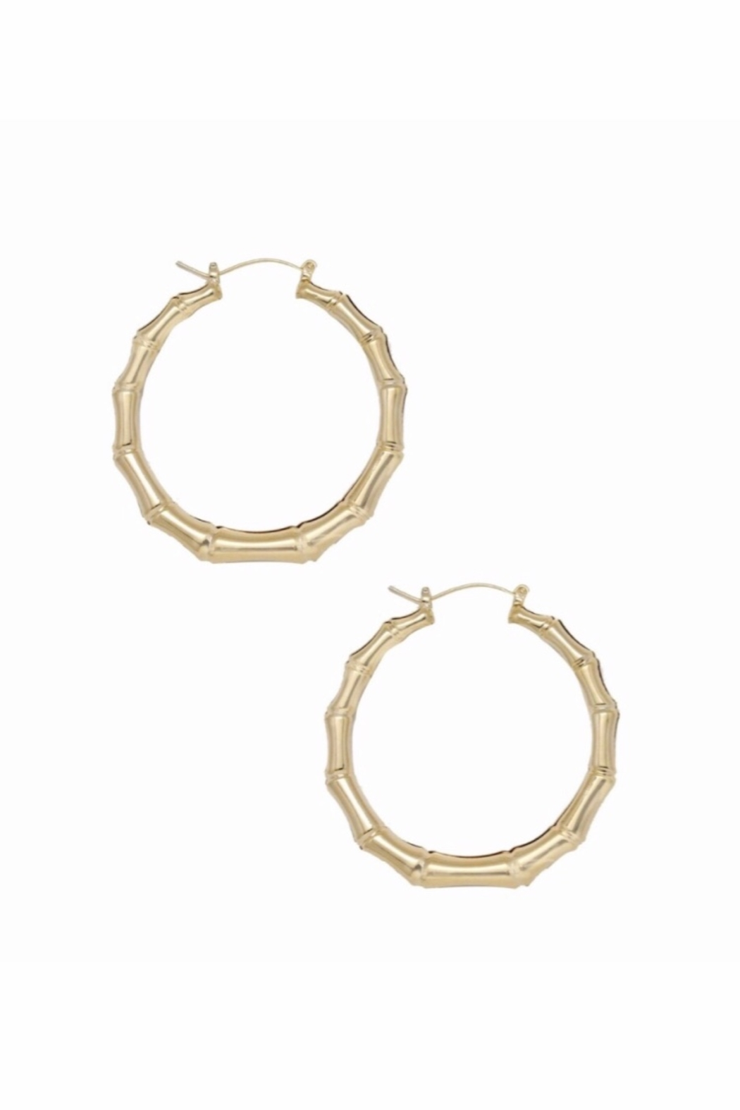 Ettika Bamboo 18kt Gold Plated Hoop Earrings - Front Full Image
