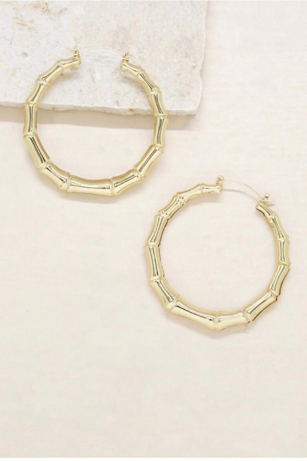 Ettika Bamboo 18kt Gold Plated Hoop Earrings - Main Image