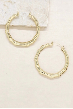 Ettika Bamboo 18kt Gold Plated Hoop Earrings - Product List Image