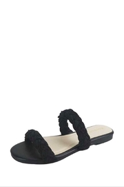 Bamboo Black Braided Sandals - Front cropped