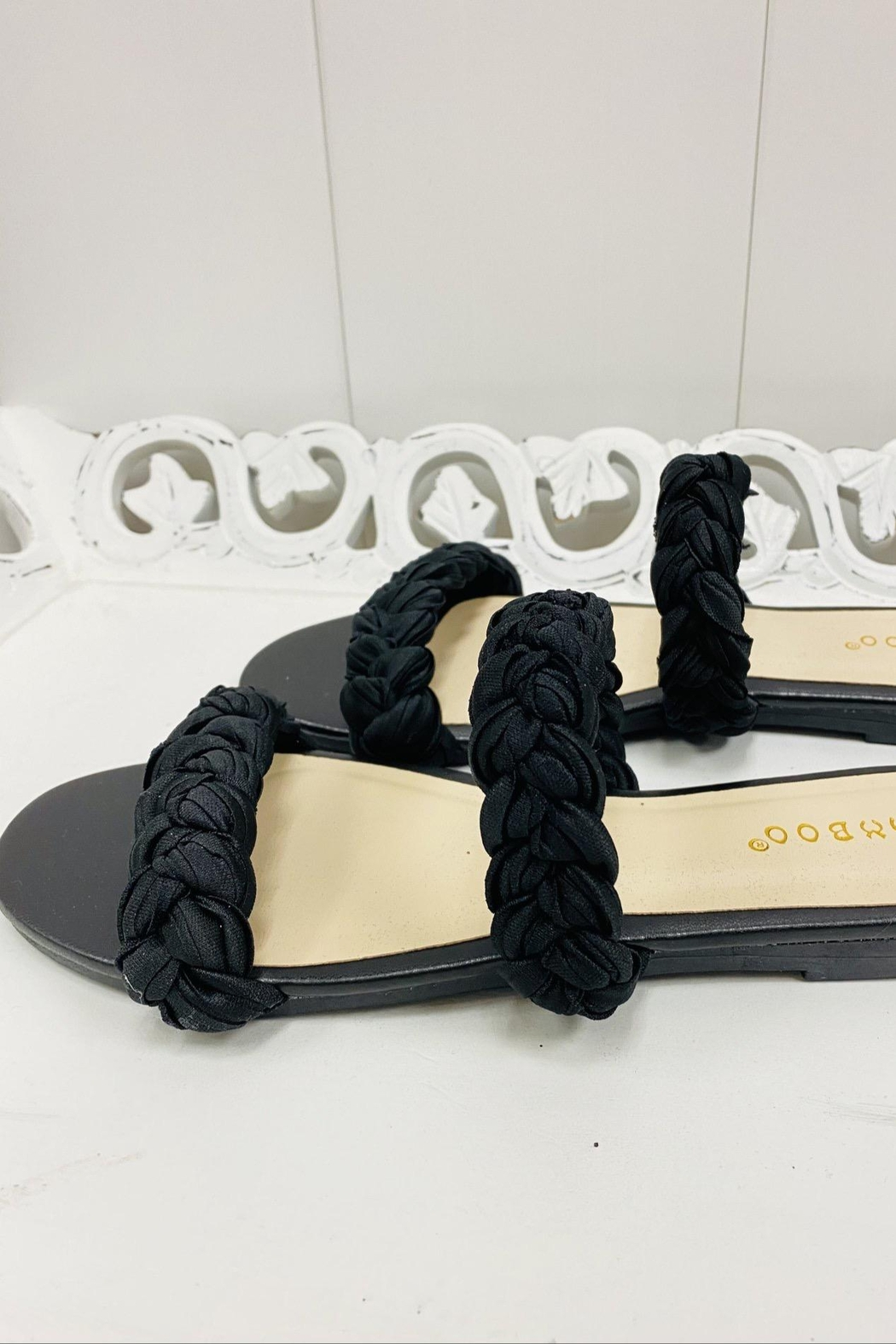 Bamboo Black Braided Sandals - Side Cropped Image