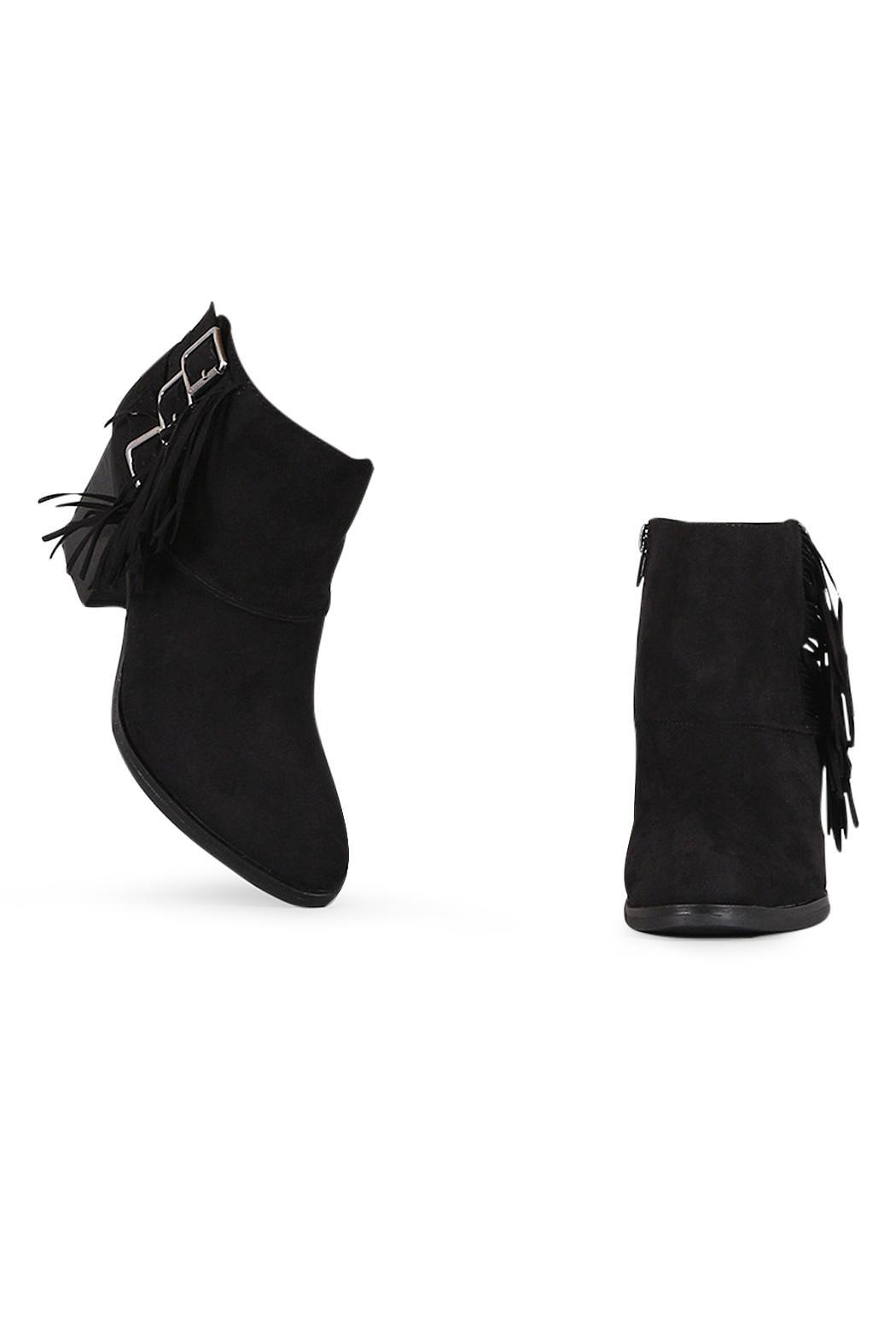 Bamboo Black Buckled-Fringe Booties - Front Full Image