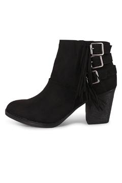 Shoptiques Product: Black Buckled-Fringe Booties