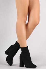 Bamboo Black Suede Booties - Front cropped