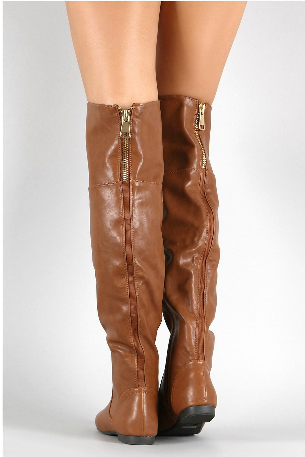 Bamboo Brown Leather Boots - Side Cropped Image