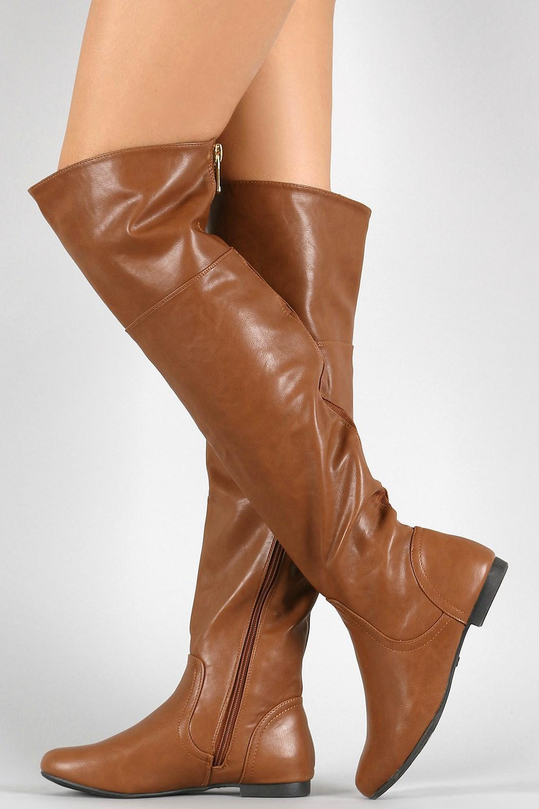 Bamboo Brown Leather Boots - Front Full Image