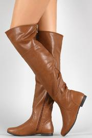 Bamboo Brown Leather Boots - Front full body