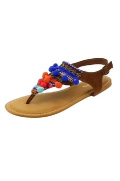 Bamboo Brown Pom Pom Sandals - Product List Image