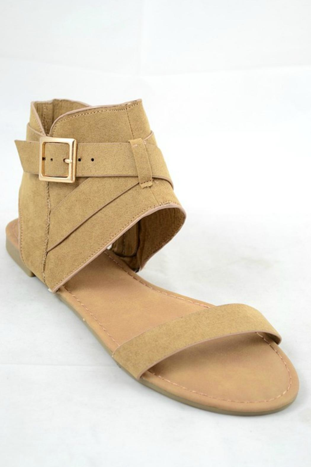 Bamboo Buckle Accent Sandal - Front Full Image