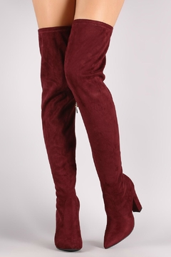 Shoptiques Product: Burgundy Over-The-Knee Boots